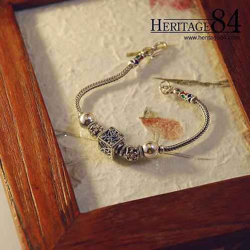 Sterling silver charm bracelet - Oriental bracelet C1