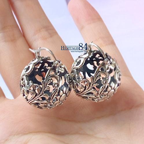 Sterling silver drop earrings, silver Floral Ball earring,
