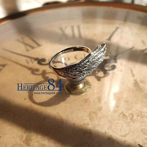 Angel wing ring, Feather silver ring for women