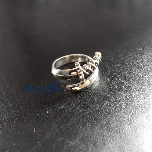 Mens index finger ring, Katana Wrap around silver ring