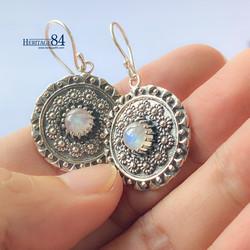 Boho moonstone earrings, Sterling silver 925