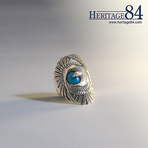 Turquoise Eagle Ring | Long Statement Ring in Silver