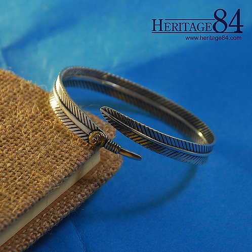 Sterling Silver Feather Bangle | Wrap Around Bracelet