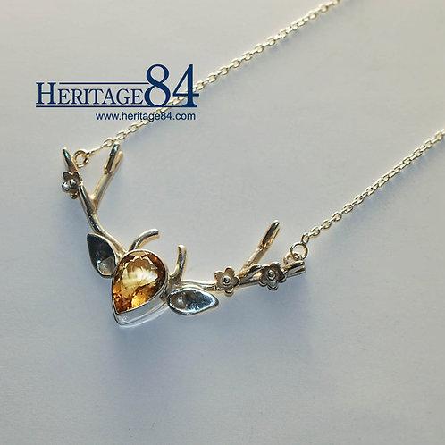 Reindeer Necklace, women's silver necklace, Citrine yellow gemstone