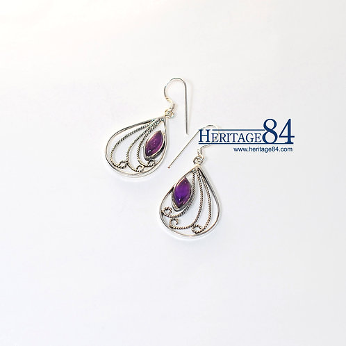 Earrings with Amethyst , Handmade earrings violet crystal, hook earrings