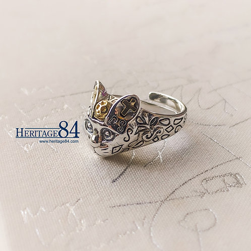 kitty silver ring, cat ring for female