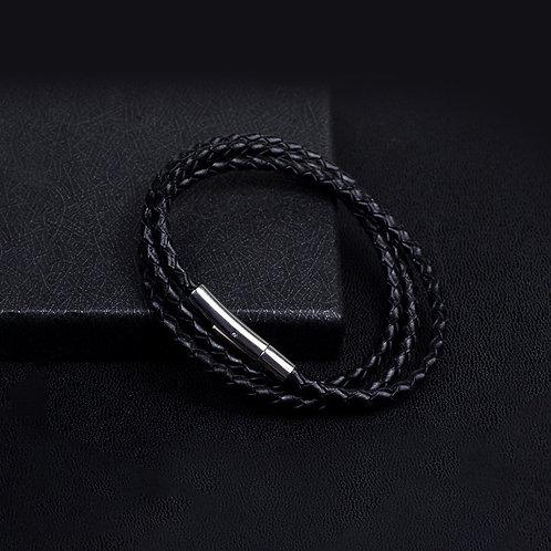 Black Leather bracelet, multi cord leather bracelet
