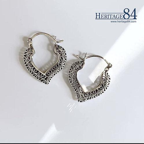 Heart shape hood earring, Saddleback Earrings