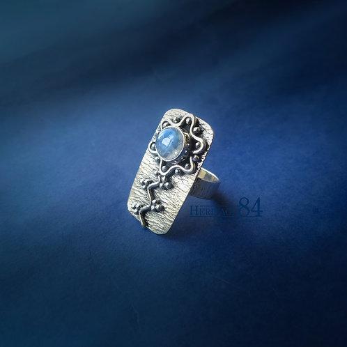 Moonstone ring, handmade silver ring