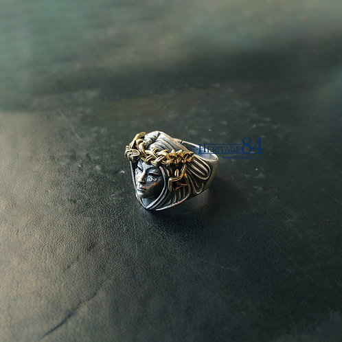 Goddess face ring, silver ring for men, mens statement ring,