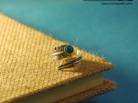 Wrap around feather ring in sterling silver, Adjustable turquoise ring