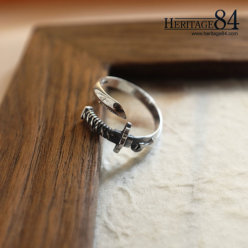 Japanese Samurai sword wrap around silver ring for man & women