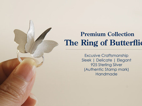 Sterling silver ring | Butterfly cocktail ring