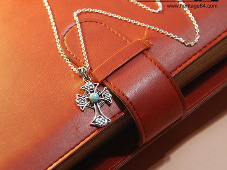 Christian cross pendant necklace with Larimar in 925 Sterling Silver