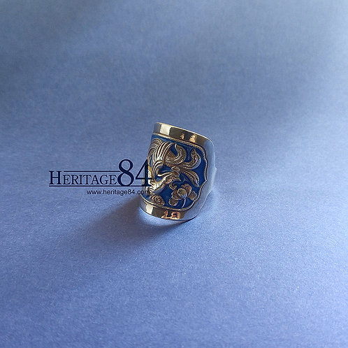 Phoenix Ring for women, Chinese Fine Silver Cloisonne Zodiac Ring