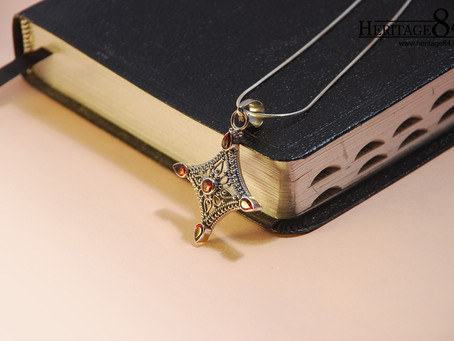 Oriental Vintage diamond shaped pendant with red garnet and sterling silver