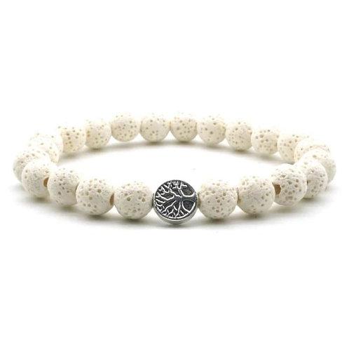 White Lava Stone Tree of Life Essential Oil Bracelet