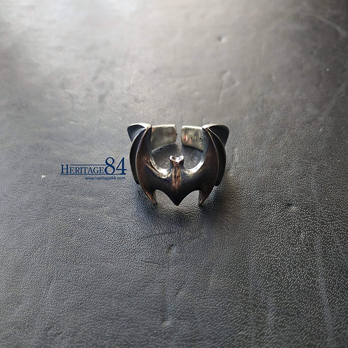 Bat ring for men, oxidized silver ring