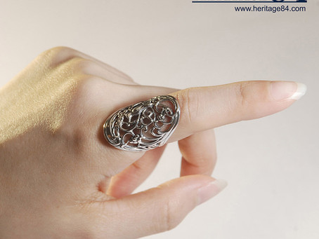 Long sterling silver ring and knuckle rings