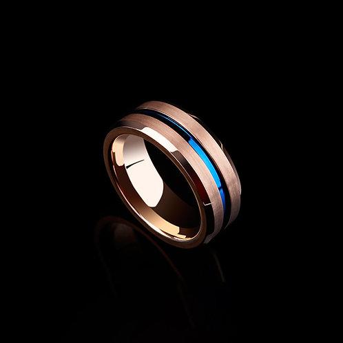Rose gold ring for men, Tungsten ring in rose gold & blue