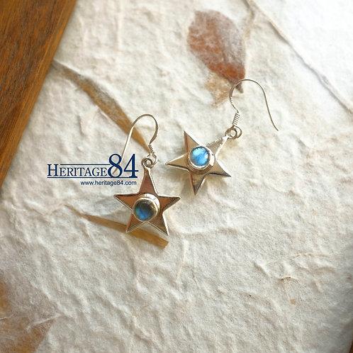 Star drop earrings, Labradorite earrings