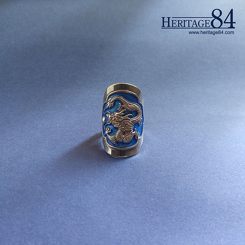 Ring of Shenron with dragon ball – Vintage dragon ring in fine silver