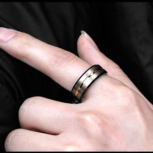 Brushed Gunmetal ring, Tungsten Ring for men