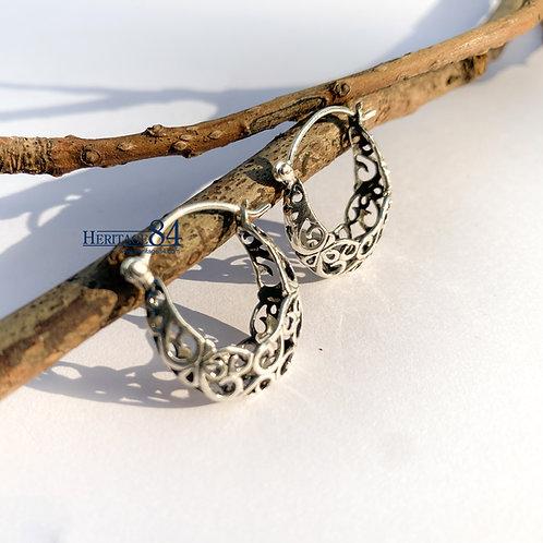 Silver Hoop Earring, Boho Hippie, Crescent Filigree Earring
