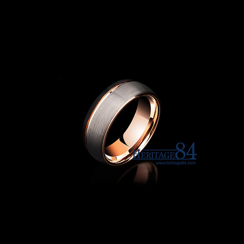 Brushed  ring in black and plated rose gold - Ring for men