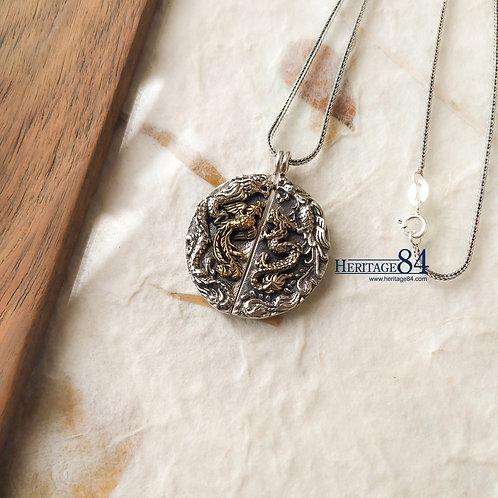 Dragon and phoenix silver necklace pendant for Men Women