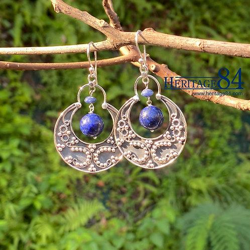 Crescent moon feature earring, filigree earrings