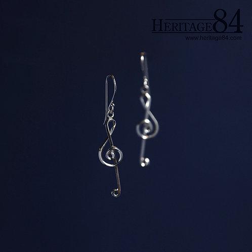 Treble Clef Earrings in 925 sterling silver