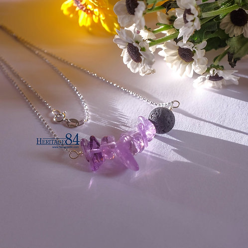 Crystal necklace, Amethyst and Lava stone necklace for female
