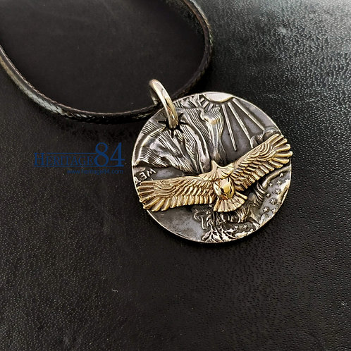 Mens necklace pendant, Golden eagle pendant