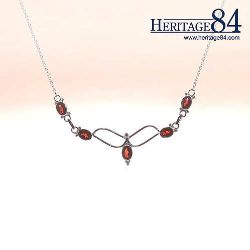 Red Garnet Necklace | Feminine Sterling Silver Necklace