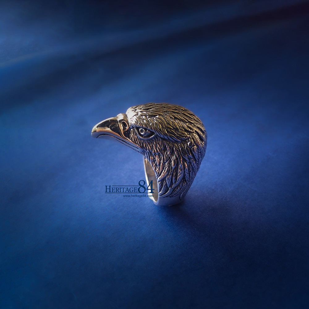 Mens Eagle ring in Sterling silver