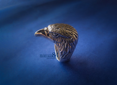 Eagle head ring in sterling silver, Mens solid silver ring