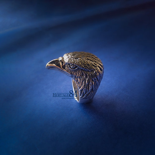 Mens solid silver ring, Eagle head ring in sterling silver