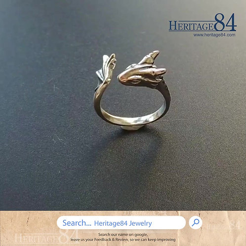 Silver dragon ring, Silver ring for female, handmade sterling silver ring