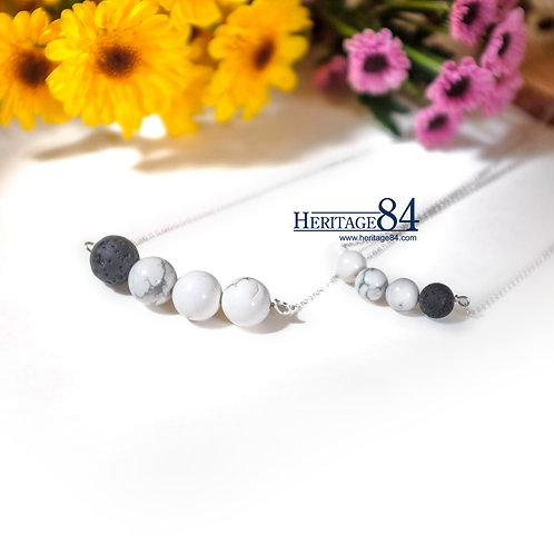 Howlite Necklace for women, dainty necklace with Lava stone