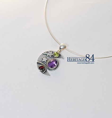 Vintage sterling silver charm, Garnet Jewelry
