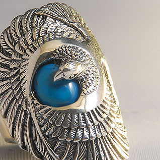 Men's sterling silver ring, eagle ring in silver