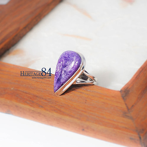 Charoite ring, teardrop Charoite with 925 sterling silver