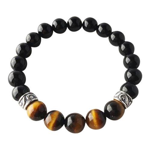 Tiger's Eye & Black Onyx Sterling Silver Bracelet