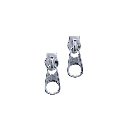 Zipper head stud earrings in 925 Sterling silver