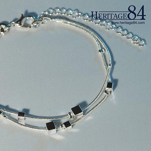 Dainty double chain bracelet - Satellite bracelet - silver bracelet