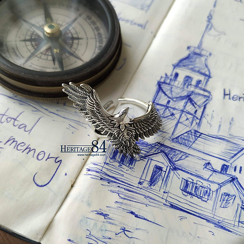 Mens Eagle ring, Statement ring for man