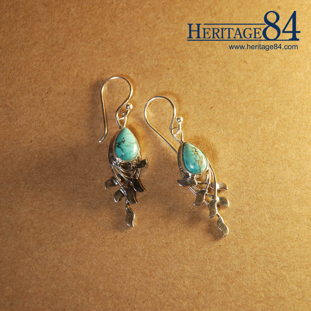 Turquoise Drop Earrings in Silver