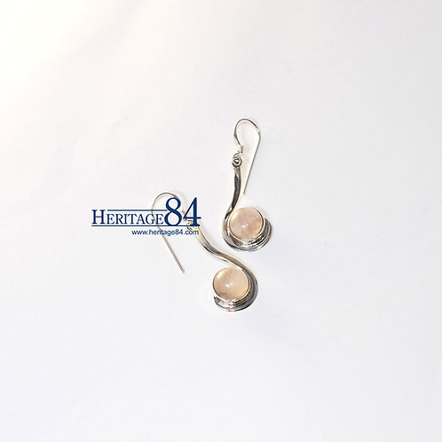 925 sterling silver earring with Rose quartz, gemstone earrings