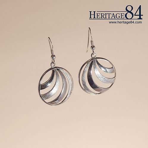 Partially Brushed - sterling silver round earrings